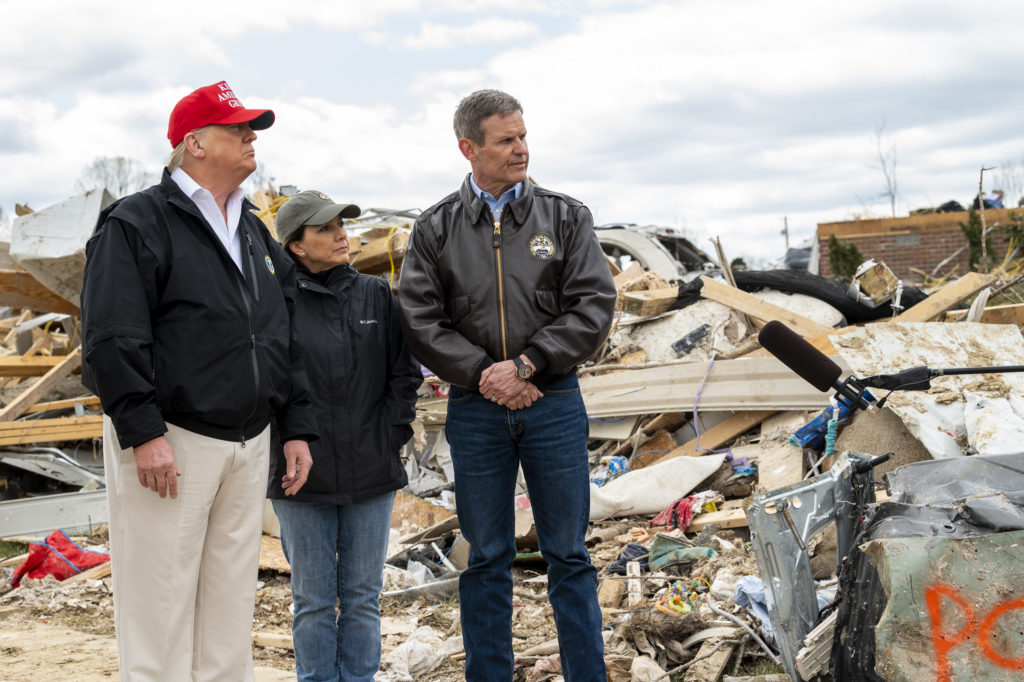 President Donald Trump, Gov. Bill Lee and first lady Maria Lee survey tornado damage in Tennessee in March.
