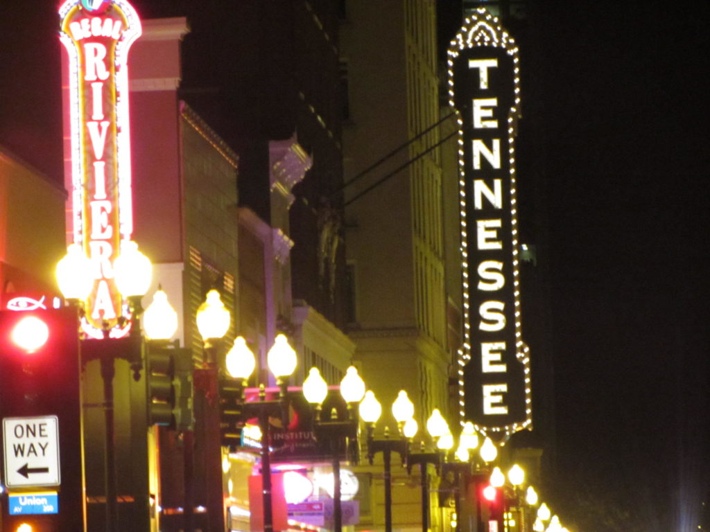 A sign outside the Tennessee Theatre on Gay Street in Knoxville