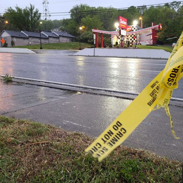 Police tape at the scene of the shooting